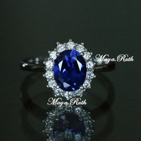 Synthetic Sapphire Ring william and diana item 925 sterling silver white gold plated