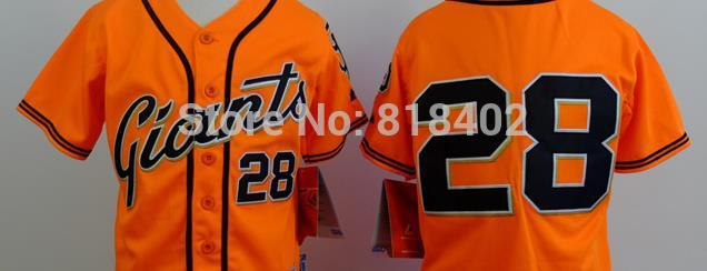 Free shipping-San Francisco Giants #28 Posey kids orange/cream/grey/black jersey,Giants jerseys(China (Mainland))