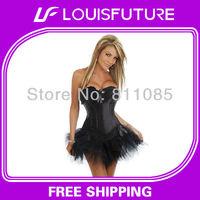 Black Spandex / Polyster Sexy Lingerie Corset Chemise Women CS0160