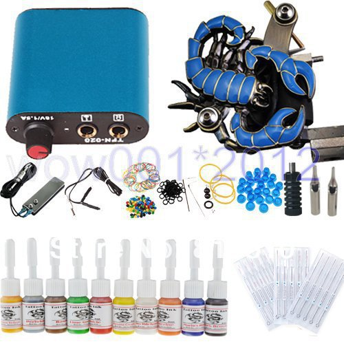 Complete Starter Tattoo Kit Machine Gun 10 Color Inks Power Supply Needles Set Hot Sale(China (Mainland))