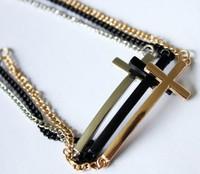 2013 Fashion punk metal gold plated cross bracelet free shipping mix color black/silver/gold cross bracelet wholesale 15pcs/lot