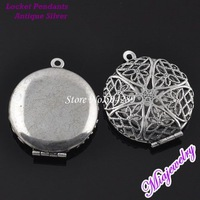 Wholesale Floating Locket Charm 200pcs/lot Antique Silver 27x7mm Round  Copper Locket Pendant For Jewelry Necklaces