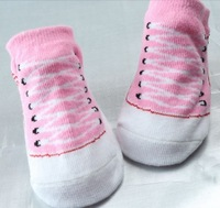 Free shipping 12pairs/lot Baby Socks Indoor Shoes Infant sock New born Sock Suitable for 0-6 months Cotton