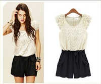 Free shipping Rompers lace openwork stitching collision color ladies siamese culottes summer women dress S-002
