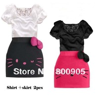 new arrival children's special cute design summer clothing kids leice  top + hello kitty bow skirt girls 2 pces set