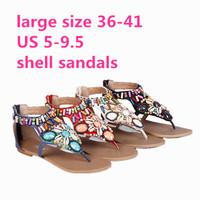 National Trend Bohemia Shell Women BeachSandals Rhinestone Colorful Sparkling Diamond T-Strap Flat Sandals Plus Size 40 41