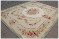 FREE SHIP! 6'X9' Aubusson Rug BLUE w Shabby Chic Home Decor PINK ROSES Fine Flat Weave!  NEW