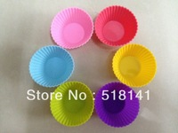 Min order $15 (mix order) 6 colours Silicone muffin Round Molds Cupcake moulds 100% food grade silicone 6pcs free shipping