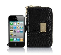 women High Quality Fashion Zip Purse small Wallet Genuine Leather for Iphone4S Iphone 5 Retail Package