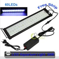 Free Shipping AC 100V~240V 30W 60 Led 18 Inch Fish Tank Light 46CM Blue White LED  Aquarium Lamp F-5060