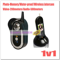 Newest 500 meters wireless video/audio color door phone intercom systems EMS&DHL free shipping