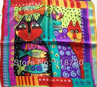 100% mulberry silk pure silk scarf 50cm*50cm square scarf ,cat print scarves