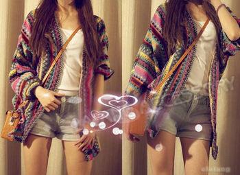 Cotton Blends Colorful Women Boho Ethnic Rainbow Weave Stripe Knit V Neck Cardigan Sweater Batwing Jacket EJ650925