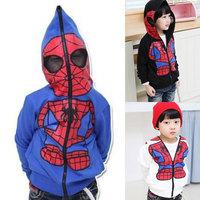 2014 HOT Kids Spiderman Coat Boys coat Hoodies Girls Full Zipper Mask Jacket Size 3-8 Year