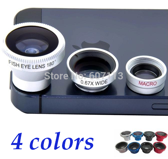 1 set Magnetic 3 in 1 Wide Angle Macro lens 180 Fish Eye camera Kit Set for iPhone 4 5 for HTC ipad Samsung android Mobile phone(China (Mainland))