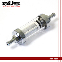 BJ-FF-2004 High quality new style chrome plated clear view glass  inline fuel filter 1/4''  or 6 mm for motorcycle
