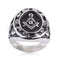 Free shipping! Master Freemasonry Masonic 316 Stainless Steel Ring MER05-15