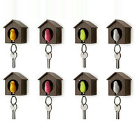 Drop Shipping Sparrow keychain fashion multifunctional lovers bird house keychain key ring for home decoration,promotion gift