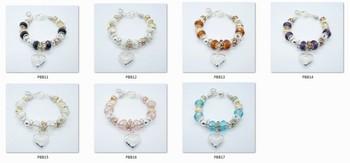 Bracelet - PBB12 / Heart crystal 925 silver bracelets Charm bracelet 925 sterling silver crystal pendant bracelet for woman