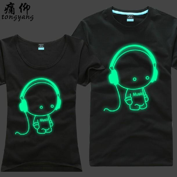 2015 New designer fashion DJ kid men/women's noctilucent Luminous T-shirt Funny printed Tshirt 3XL 4XL big size 20139(China (Mainland))