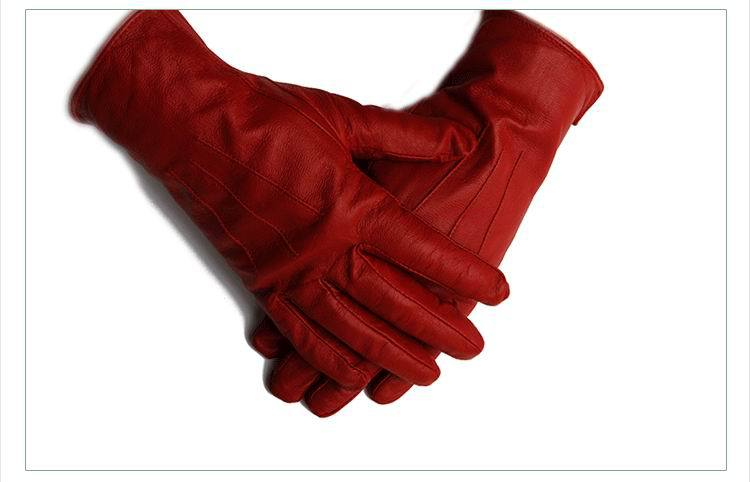 Free Shipping top quality Ladies&#39; fashion red leather gloves(China (Mainland))