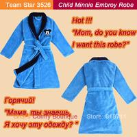 2013 Fashion Good Selling High Quality Blue Coral Fleece Cartoon Minnie Embroidery Child Home Wear Boy Long Lounge Robe (TS3526)