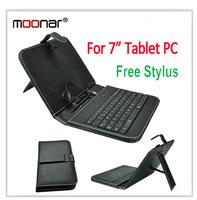 High Quqlity Portable USB Keyboard Black Faux Leather Case With Stylus Pen For 7 inch Tablet PC Free Stylus Pen DA0091
