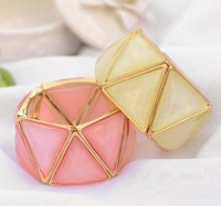 Min. order is $10(mix) brand new  triangle gem bracelet fashion color statement bracelet for women wholesale 2013