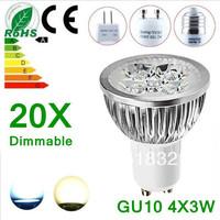 20X Dimmable GU10 4X3W 12W 4LEDS Led Lamp Spotlight 85V-265V Led Light Bulb downlight High Power free shipping
