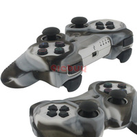 Silicone Soft Protective Case Cover for Sony PlayStation 3 PS3 Controller, Camo Pattern,Brown, White