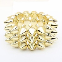 Min. order is $10(mix) 610 1PCS fashion pyramid rivet spike stretch bracelet new bracelet wholesale jewelry 2013
