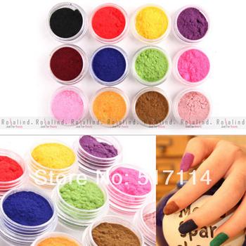 Rosalind Hot sell 12 Color Velvet Flocking Powder Velvet Manicure Nail Art Polish Tips