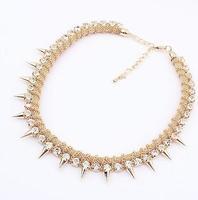 statement punk rhinestone spike necklace fashion necklace wholesale jewelry 2013