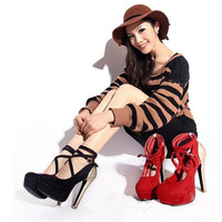 Free Shipping Autumn New Stylish Pumps Women Sexy Platform Pumps Lady High Heels,Black,Red Heel Single Shoes Free Shipping