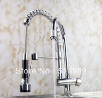 New Free Ship Pull Out Faucet Chrome Water Power Swivel kitchen Sink Mixer Tap Double Handle  tige3