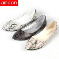 Amoon / Women Girl 2015 New Summer Autumn Fashion Hot Rubber Snake Print PU Flat 108#2/ 3 Colors/ 7 Plus Size/ Free Shipping