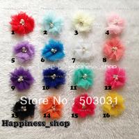 60pcs Wholesale baby girls Mini Tulle Mesh Chiffon flowers Rhinestone Pearl Center Flat Back hair headband children accessory