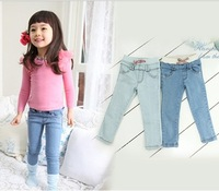 Free shipping (5 pieces/lot) Children's girl's jeans girl pants jeans tight pants girl pure color jeans