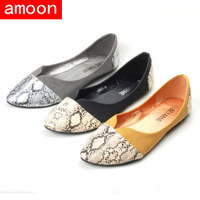 Amoon / Women New Spring Summer Autumn Fashion Rubber Patchwork PU Flat / 109#21/ 3 Colors/ 7 Plus Size/ Free Shipping