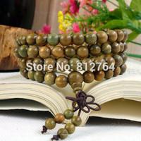 108*8mm Pleasant Smell Green Sandalwood Beads Mala Man Bracelet Men Jewelry Good to Health Keeping lucky handwear Free Shipping