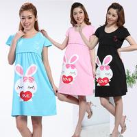 Summer Gravida Casual Clothing New 2015 Maternity Dresses/Clothes for Pregnant Women 100% Cotton Pregnancy Woman  Dress Blue XL