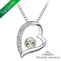 JS N015 Kingdom Hearts Necklace CZ Diamond Necklaces Pendants France Elegant Bijoux Corrente De Prata Women Jewelry 2014 Pendant