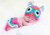 Free shipping cute owl baby hat and shorts handmade crochet photography props newborn baby hat and shorts