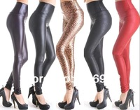 Free shipping Wholesale+NEW Sexy Women Faux Leather Stretch High Waisted Tight Pants Leggings Size XS/S/M/L,15 Colors