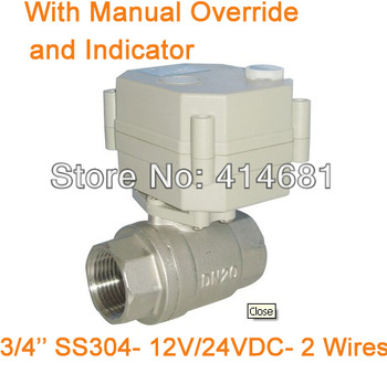 3/4'' DC24V full port motorized valve stainless steel 2 wires for water purification