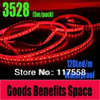 Big Promotion! Free Shipping 5M SMD3528 Led Strip Light 120 led/m Single Color living room bedroom Waterproof Strip Light