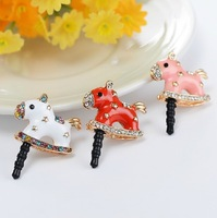 Wholesale cartoon dust plug crystal wooden horse dustproof plug for iPhone ipad samsung htc mix color