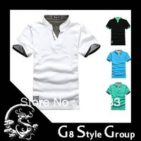 Free shipping hot selling2013 New Men's cotton T Shirt +Men's Short Sleeve T Shirt slim fit ,Polo shirt,with 4 colors