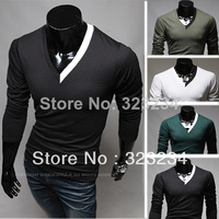 2013 New Stylish Clothing Spring And Autumn Male Long-sleeve T-shirt V-Neck Slim Elastic Men's clothing Size:M  L  XL XXL