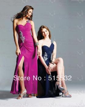 One Shoulder Sheath Beading Sexy Chiffon long Prom Dress Evening Dresses n380